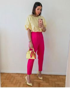 Stylish Work Outfits, New Outfits, Spring Outfits, Cool Outfits, Casual Outfits, Fashion Outfits, Color Combinations For Clothes, Color Blocking Outfits, Looks Jeans