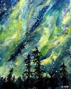 """NORTHERN LIGHTS, original painting, acrylic  painting, 8"""" x 10"""" canvas board. aurora borealis, cosmic sky, wall decor, home decor, wall art by ThisArtToBeYours on Etsy"""