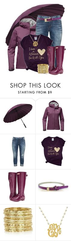 """I'm Ready 4 The Rain"" by hope-houston ❤ liked on Polyvore featuring The North Face, Silver Jeans Co., Hunter and River Island"