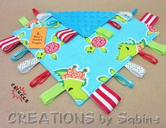 Tag Blanket Crinkle, Baby Taggie, Ribbon Toy, Sensory with Crinkle Sound, blue, turquoise, red, turtle, aligator, dino, hawaii, green $14