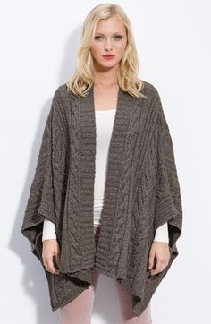 Caslon® Cable Knit Swing Poncho