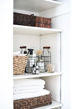 Using baskets and a splash of Marie Kondo's method, this is how you can organize any closet in your home in 30 minutes! Before writing this, my laundry room cleaning closet was a disaster. So, in the spirit of New Year's resolutions, I decided to give it the ol' Kondo treatment. The result