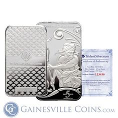 5 oz Trident Silver Bar Fine - Assay Certificate With Serial Number Bullion Coins, Silver Bullion, Buy Gold And Silver, Trident, Parkour, Silver Bars, New Tattoos, Certificate, Phone Cases