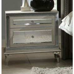 AICO Hollywood Swank Upholstered Nightstand AI-03040