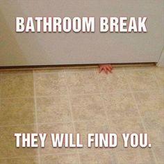 Bathroom break, they WILL find you!