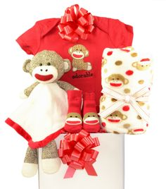 Sock Monkey Red Baby Gift Basket