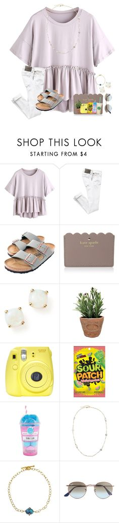 """""""~~"""" by taybug2147 ❤ liked on Polyvore featuring Birkenstock, Kate Spade, Bloomingdale's, Esschert Design, Fuji, Fizz & Bubble, Emily & Ashley, Cathy Waterman and Ray-Ban"""