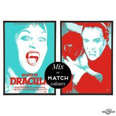 Scars of Dracula pair of pop art prints in red & aqua