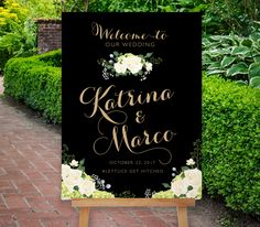 Reception Signs, Wedding Signage, Friend Wedding, Our Wedding, Wedding Dress, Pink And Gold, Blush Pink, Green Hydrangea, Hydrangeas