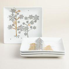 Snow Drift Square Plates, Set of 4 $27.99 Worldmarket.com