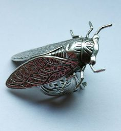 Wonderful piece made of oxidized sterling silver plated brass. Cicadas size is 5 cm in lenght. *IMPORTANT!!!* !!!!!!!!!!!!!!!!!!!!!Allow at least 2