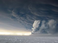 volcanic clouds over ice. icealnd. 2010.