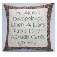Funny Cross Stitch Pillow