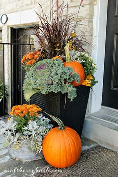 Fabulous Fall Containers • Great Tips and Ideas! Including, from 'craftberry bush', this amazing fall container with grasses, kale, pumpkins and more.