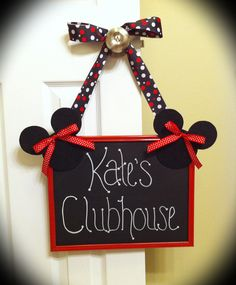Minnie Mouse chalkboard sign for a birthday party. I used a large picture frame- painted the frame red, and painted the glass with chalkboard spray paint. I made the Minnie Mouse's out of felt and added some ribbon. Perfect little addition to celebrate :)