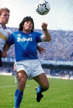 Diego Maradona in action, May 10, 1987. Playing at home, Napoli drew with Fiorentina 1-1 to secure their first ever Scudetto.