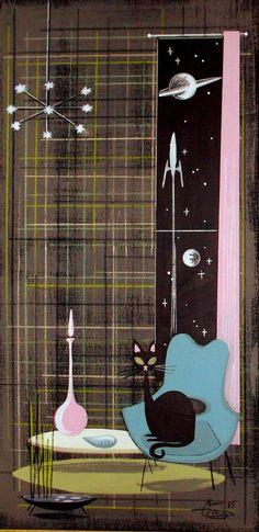 EL GATO GOMEZ PAINTING RETRO 1950S ATOMIC SPACE ROCKET MID CENTURY MODERN CAT #Modernism