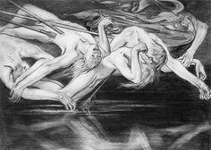 Hermes wiedzie duchy bohaterów do głębin Hadesu  1897. Rys. ołówkiem na papierze. 22,5 x 31,3 cm.