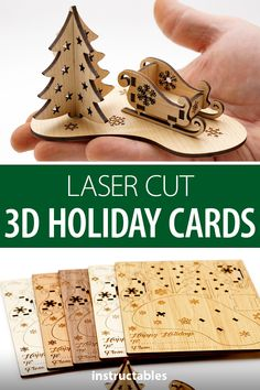 With these little laser cutter holiday cards you can assemble a 3D Christmas scene with tree and sleigh. #Instructables #lasercut #gift #wooden #woodworking
