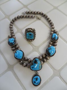 Very Rare Blue Bisbee Waterweb Choker Necklace and Ring, [Lavender Pit Mine, AZ] Old Pawn, Navajo, High Grade Natural Stones