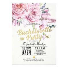 Bachelorette Party Watercolor Boho Floral Feather Card