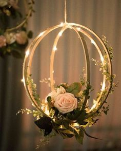 Blush Pink Floral Hoop Wreaths (Set of Unique Design: Handcrafted with blush and ivory open roses, rose buds, greeneries and vines on a bentwood spheres and a orbit hoop. They look realistic and will last forever. Package & Size: Set of 2 floral hoop wr Open Rose, Floral Hoops, Deco Floral, Art Floral, Floral Design, Diy Hanging, Hanging Lanterns, Floating Lanterns, Hanging Mason Jars