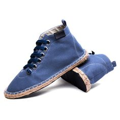 High Top Casual Breathable Espadrilles Lace Up Casual Shoes ($25) ❤ liked on Polyvore featuring men's fashion, men's shoes, men's sneakers, mens lace up shoes, mens high top shoes, mens summer shoes, mens breathable shoes and mens high top sneakers