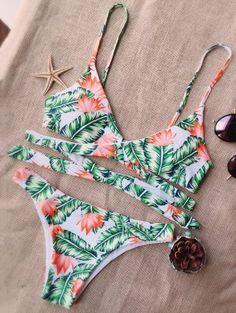 Leaf Print Strappy Bikini - White And Green