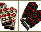Hand knitted wool mittens Warm mittens Winter gloves Patterned mittens Red green floral ornament on a black and white background HandKnitted