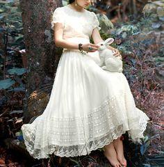 Maxi+lace+chiffon+dress+retro+slim+dress+summer+dress+by+1000love,+$109.99