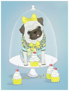 This is cute but a real pug would have already eaten all of those cupcakes and would be looking for more!
