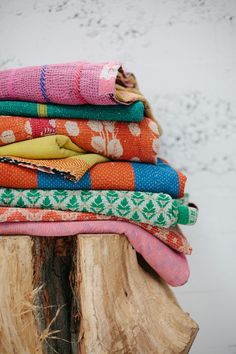 Image of gathered goods | kantha blanket | kamalā