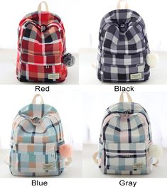 New Lattice School Bag Grid Large College Canvas Backpack – wikoco Stylish School Bags, High School Bags, Cute School Bags, College Bags For Girls, Bags For Teens, Girls Bags, Cute Mini Backpacks, Stylish Backpacks, Canvas Backpack