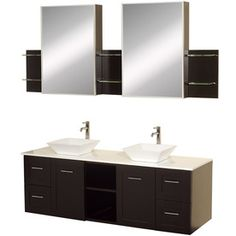 Wyndham Collection�Avara 60-in x 22-1/4-in Espresso Vessel Double Sink Bathroom Vanity with Solid Surface Top