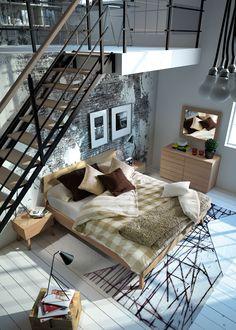 Collectie Prima-Lux en Idee+: zachte houttinten contrasteren met de industriële look van deze loft