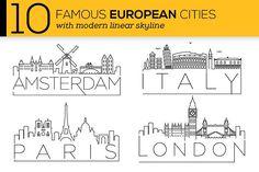 10 European Cities Linear Skyline - Icons