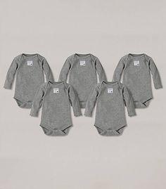 Bee Essential Long Sleeve Bodysuit 5 Pack - Burts Bees Baby