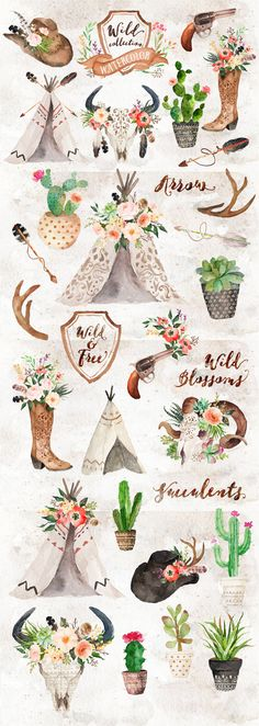Watercolor Wild West Collection/Wedding/Clip art by GraphicSafari