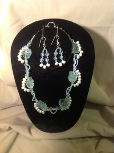 """""""Beach Baby"""", Pale blue glass beads, fresh water pearls, Swarovski crystals, a beautiful set, necklace and earrings, perfect for the beach! Email: gracebeadeddesign@gmail.com"""