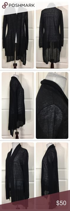 """Eileen Fisher black linen cardigan Great linen blend cardigan from Eileen Fisher. High low (about 7"""" difference).  Perfect layering piece. Open front. No flaws noted. Eileen Fisher Sweaters Cardigans"""