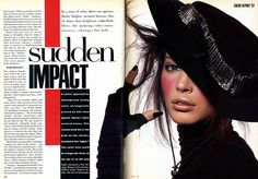 Vintage Vogue double page spread, bold typography which makes a statement in centre of page
