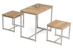 SonnenPartner SKYLINE Möbel Kollektion Tisch und Bank Teak Holz Edelstahl Bar Stools, Skyline, Modern, Table, Furniture, Home Decor, Lounge Furniture, Sofa Set, Stool
