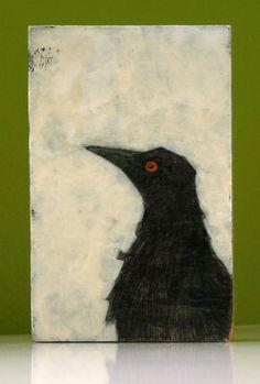 fog original crow painting on wood block by art25bya2n2 on Etsy, $15.00