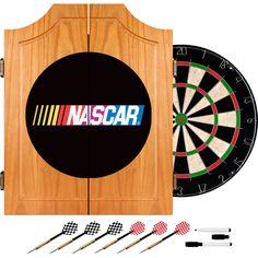 Nascar7000 Nascar Beveled Wood Dart Cabinet Set