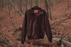 Vintage 1960s Burgundy Baracuta Harrington Leather Jacket Plaid Lining Mod Style One of a Kind