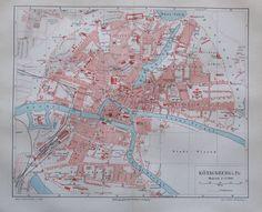 1897 Königsberg i. Pr. - alte Stadtplan Karte Lithografie old city map