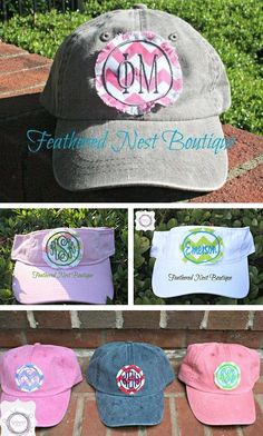 """❉ SWEET SORORITY SAVINGS from our friends at feathered nest boutique! ❉ LUV the new monogram patch sorority caps & visors ON SALE today & tomorrow for memorial day weekend! take 15% off everything in their shop! ❉ didn't win the FNB Giveaway this past week?? shop their koozies, anchor monogrammed pocket tees, monogrammed sun hats and champs totes at reduced prices!! ❉ pref promo code: """"MayDay"""" for 15% discount at checkout. http://www.etsy.com/shop/FeatherNestBoutique"""