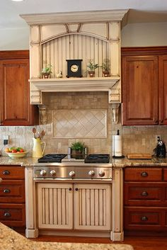 Range with shelf, stove top, antiqued white, neutral backsplash