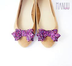 Pink blue glitter bows shoe clips handmade clips Manuu