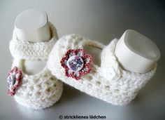 JanuarWeiß Babyschuhe   von stricklienes lädchen auf DaWanda.com